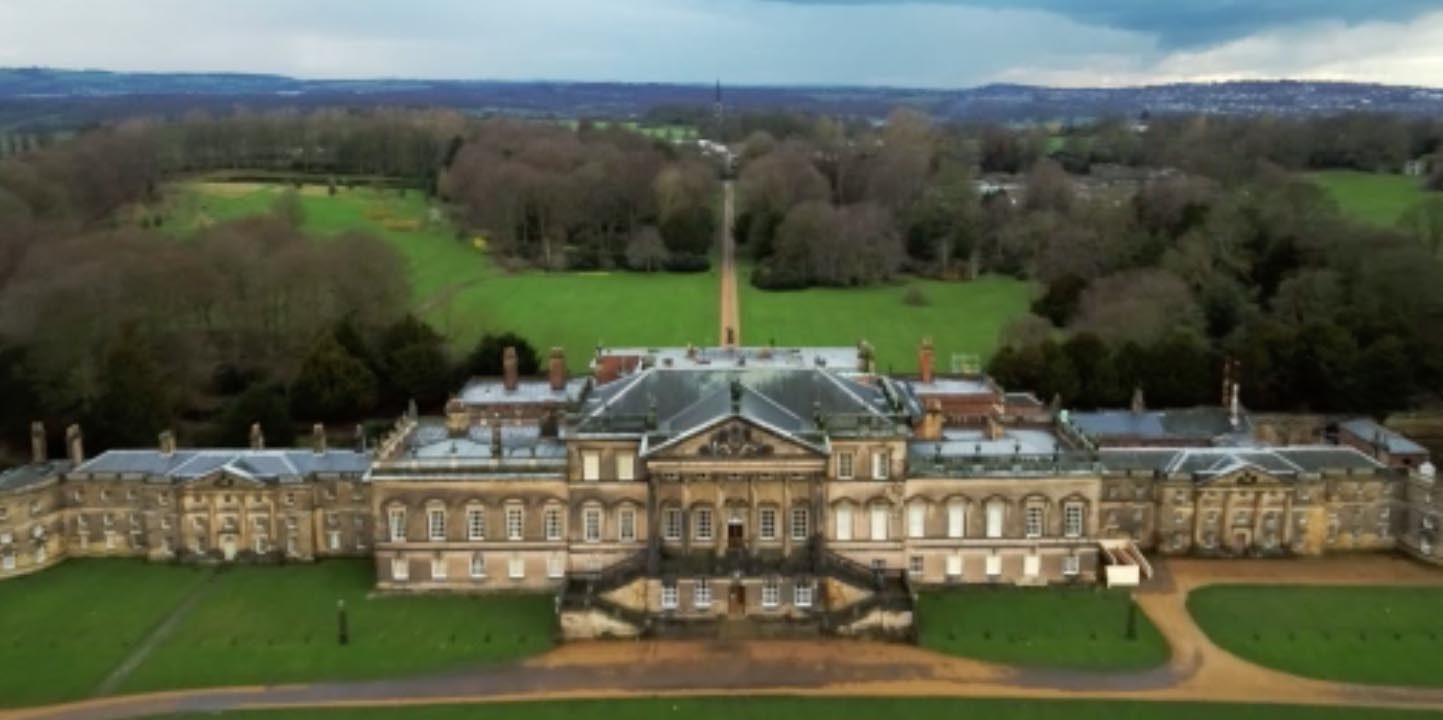 TV drones reveal bird's eye view of Wentworth Woodhouse ...